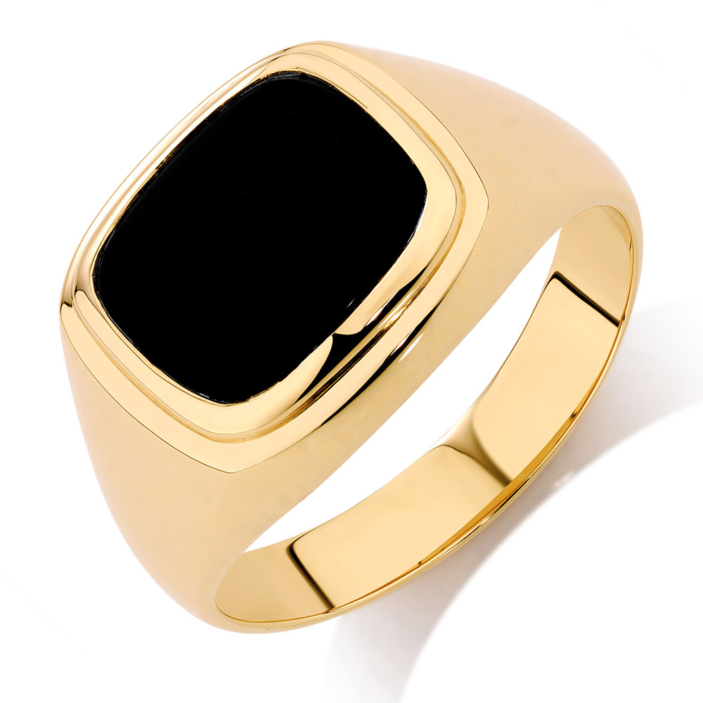 men 39 s ring with black onyx in 10kt yellow gold. Black Bedroom Furniture Sets. Home Design Ideas
