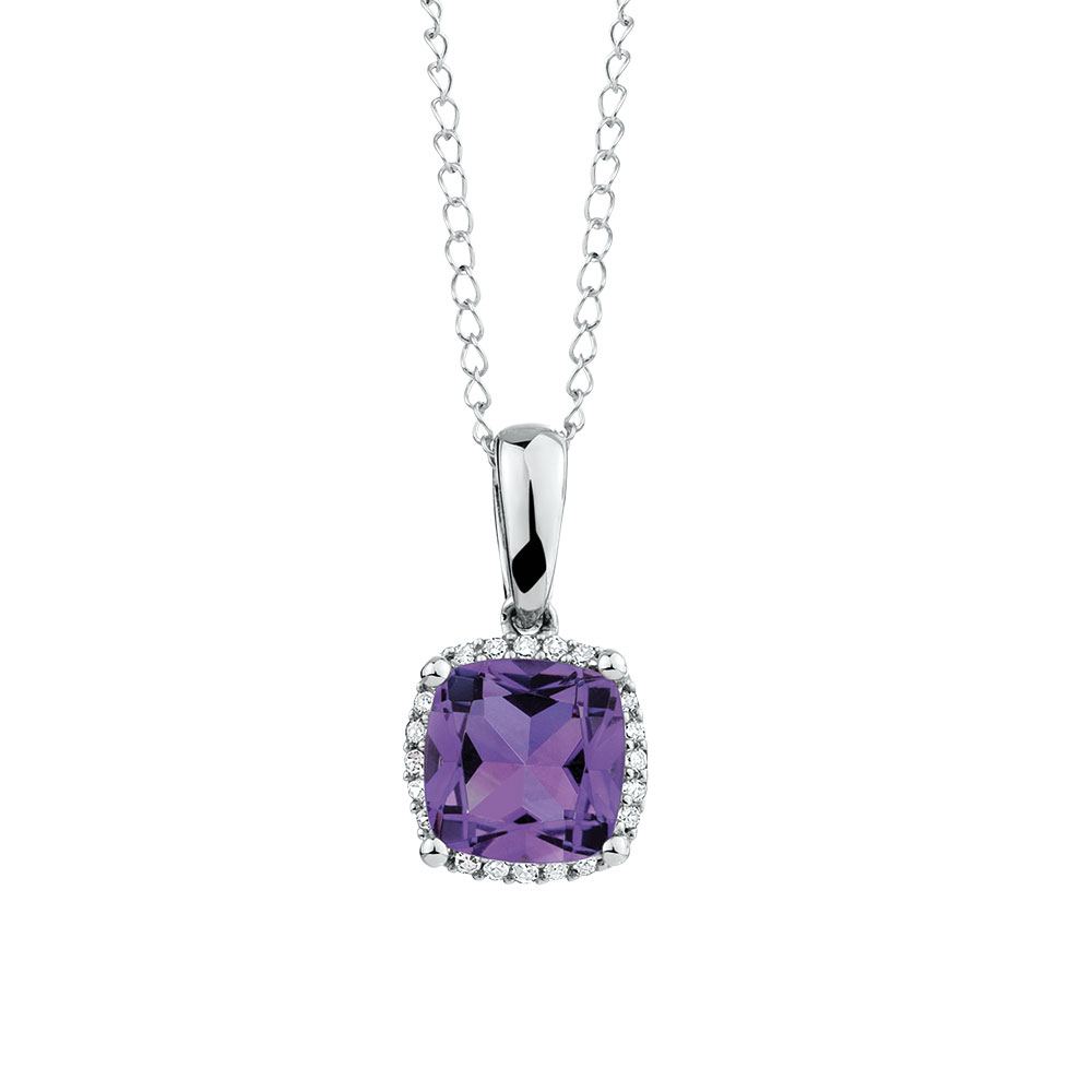 Pendant with Amethyst & Diamond in 10kt White Gold
