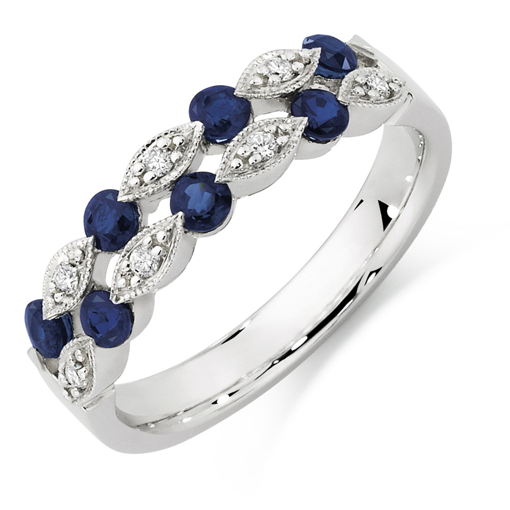 half context gold p diamond ring sapphire and large eternity