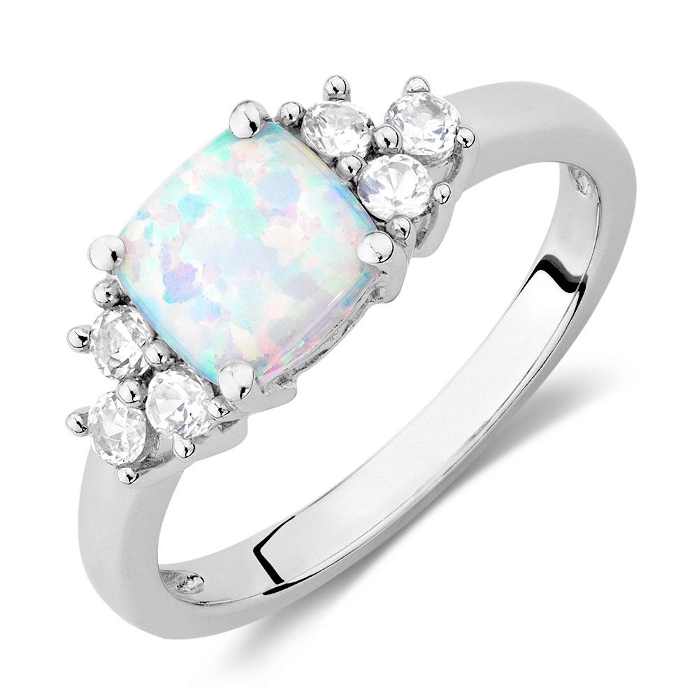ring with created opal created white sapphires in