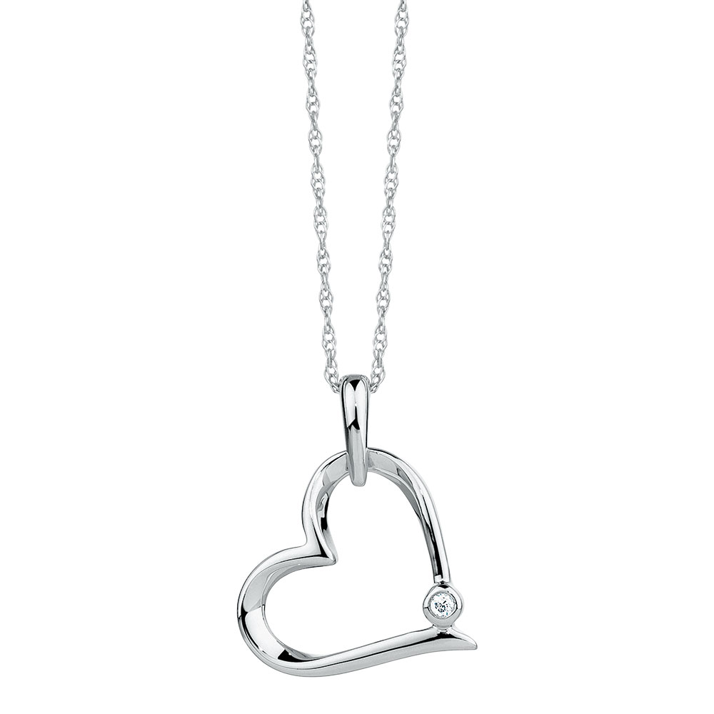 Heart pendant with a diamond in sterling silver aloadofball Images