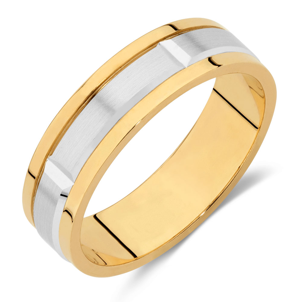mens wedding band in 10kt yellow amp white gold