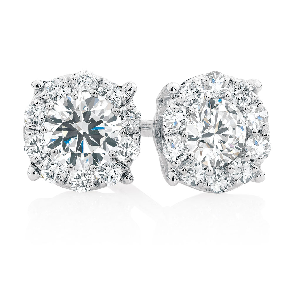 Cluster Stud Earrings with 1/2 Carat TW of Diamonds in ...