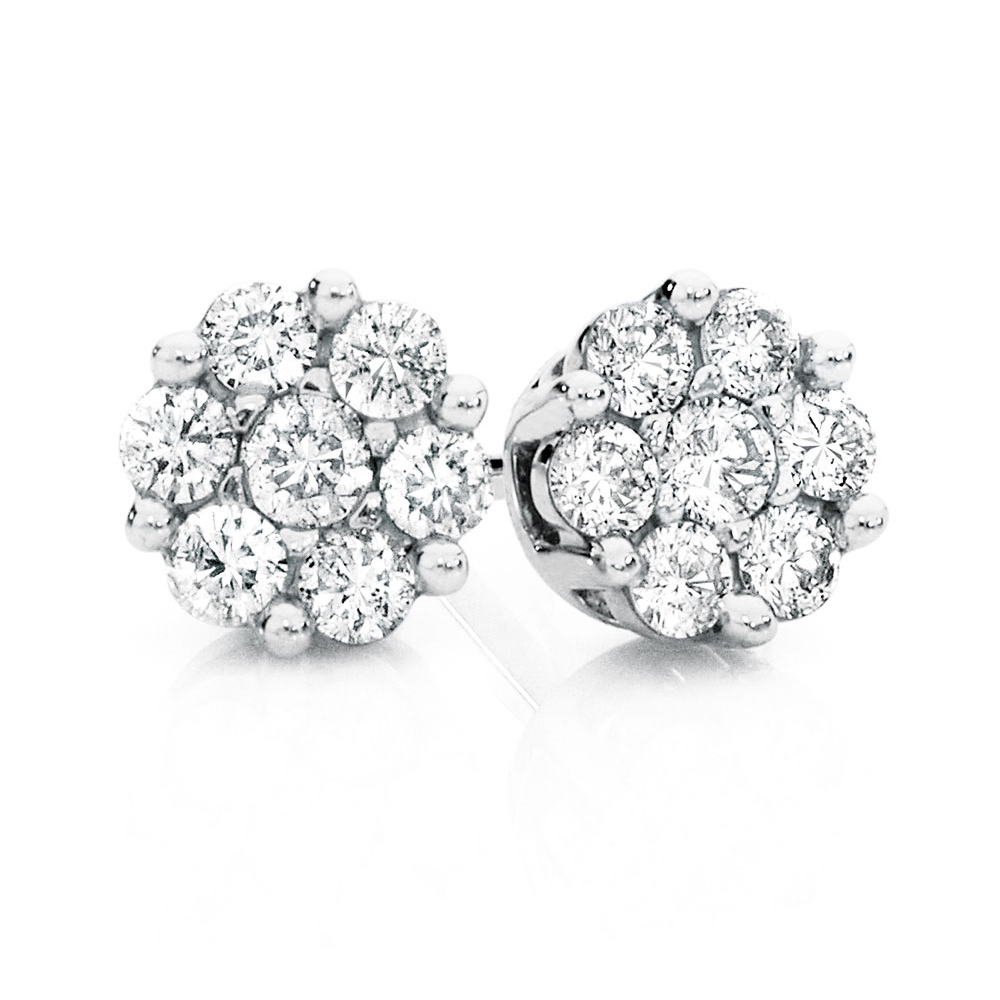 Cluster Stud Earrings With 0 25 Carat Tw Of Diamonds In