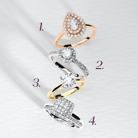 Top 1, Top 2, Top 3, Top 4 Bridal Rings