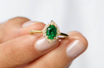 Emerald represents faith, love, and loyalty. The perfect gift for May birthdays!